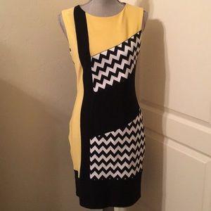 Joseph Ribkoff Black & Yellow Sheath Dress 8